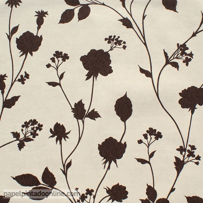 Papel pintado floral marron fotomurales decorativos - Papeles pared baratos ...